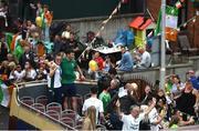 10 August 2021; Team Ireland women's lightweight gold medallist Kellie Harrington and Emmet Brennan pass through Portland Row in Dublin on their return from the Tokyo 2020 Summer Olympic Games. Photo by David Fitzgerald/Sportsfile