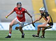 8 August 2021; Jack O'Connor of Cork in action against Padraig Walsh of Kilkenny during the GAA Hurling All-Ireland Senior Championship semi-final match between Kilkenny and Cork at Croke Park in Dublin. Photo by Piaras Ó Mídheach/Sportsfile