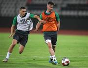 11 August 2021; Ronan Finn, right, and Max Murphy during a Shamrock Rovers training session at Elbasan Arena in Elbasan, Albania. Photo by Florion Goga/Sportsfile