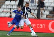 12 August 2021; Andy Lyons of Bohemians in action against Jasmin Kurtic of PAOK during the UEFA Europa Conference League Third Qualifying Round Second Leg match between PAOK and Bohemians at Toumba Stadium in Thessaloniki, Greece. Photo by Argiris Makris /Sportsfile