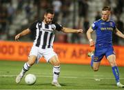 12 August 2021; Adelino Andre Vieira De Freitas of PAOK in action against Andy Lyons of Bohemians during the UEFA Europa Conference League Third Qualifying Round Second Leg match between PAOK and Bohemians at Toumba Stadium in Thessaloniki, Greece. Photo by Argiris Makris /Sportsfile