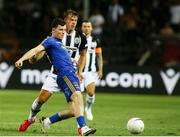 12 August 2021; Ali Coote of Bohemians in action against Stefan Schwab of PAOK during the UEFA Europa Conference League Third Qualifying Round Second Leg match between PAOK and Bohemians at Toumba Stadium in Thessaloniki, Greece. Photo by Argiris Makris /Sportsfile