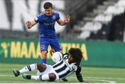 12 August 2021; Diego Biseswar of PAOK is tackled by Keith Buckley of Bohemians during the UEFA Europa Conference League Third Qualifying Round Second Leg match between PAOK and Bohemians at Toumba Stadium in Thessaloniki, Greece. Photo by Argiris Makris /Sportsfile