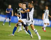 12 August 2021; Dawson Devoy of Bohemians in action against Adelino Andre Vieira De Freitas of PAOK during the UEFA Europa Conference League Third Qualifying Round Second Leg match between PAOK and Bohemians at Toumba Stadium in Thessaloniki, Greece. Photo by Argiris Makris /Sportsfile