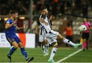 12 August 2021; Nélson Oliveira of PAOK in action against Rob Cornwall of Bohemians during the UEFA Europa Conference League Third Qualifying Round Second Leg match between PAOK and Bohemians at Toumba Stadium in Thessaloniki, Greece. Photo by Argiris Makris /Sportsfile