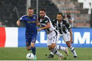 12 August 2021; Liam Burt of Bohemians in action against Andrija Živkovic of PAOK during the UEFA Europa Conference League Third Qualifying Round Second Leg match between PAOK and Bohemians at Toumba Stadium in Thessaloniki, Greece. Photo by Argiris Makris /Sportsfile