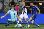 12 August 2021; James Talbot, left, and James Finnerty of Bohemians attempt to block the shot of Karol Swiderski of PAOK during the UEFA Europa Conference League Third Qualifying Round Second Leg match between PAOK and Bohemians at Toumba Stadium in Thessaloniki, Greece. Photo by Argiris Makris /Sportsfile