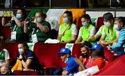 8 August 2021;Team Ireland boxers Aoife O'Rourke and Michaela Walsh in attendance during the women's lightweight final bout at the Kokugikan Arena during the 2020 Tokyo Summer Olympic Games in Tokyo, Japan. Photo by Brendan Moran/Sportsfile