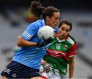 14 August 2021; Hannah Tyrrell of Dublin in action against Róisín Durkin of Mayo during the TG4 Ladies Football All-Ireland Championship semi-final match between Dublin and Mayo at Croke Park in Dublin. Photo by Ray McManus/Sportsfile