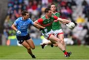 14 August 2021; Matthew Ruane of Mayo in action against Michael Fitzsimons of Dublin during the GAA Football All-Ireland Senior Championship semi-final match between Dublin and Mayo at Croke Park in Dublin. Photo by Ramsey Cardy/Sportsfile