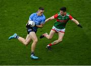 14 August 2021; Brian Fenton of Dublin in action against Conor Loftus of Mayo during the GAA Football All-Ireland Senior Championship semi-final match between Dublin and Mayo at Croke Park in Dublin. Photo by Stephen McCarthy/Sportsfile