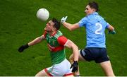14 August 2021; Matthew Ruane of Mayo in action against Michael Fitzsimons of Dublin during the GAA Football All-Ireland Senior Championship semi-final match between Dublin and Mayo at Croke Park in Dublin. Photo by Stephen McCarthy/Sportsfile