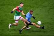 14 August 2021; Jonny Cooper of Dublin in action against Michael Plunkett of Mayo during the GAA Football All-Ireland Senior Championship semi-final match between Dublin and Mayo at Croke Park in Dublin. Photo by Stephen McCarthy/Sportsfile