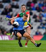 14 August 2021; Jonny Cooper of Dublin in action against Eoghan McLaughlin of Mayo during the GAA Football All-Ireland Senior Championship semi-final match between Dublin and Mayo at Croke Park in Dublin. Photo by Ray McManus/Sportsfile