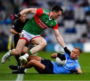 14 August 2021; Jonny Cooper of Dublin in action against Patrick Durcan of Mayo during the GAA Football All-Ireland Senior Championship semi-final match between Dublin and Mayo at Croke Park in Dublin. Photo by Ray McManus/Sportsfile