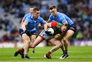 14 August 2021; Matthew Ruane of Mayo in action against Con O'Callaghan, left, and Tom Lahiff of Dublin during the GAA Football All-Ireland Senior Championship semi-final match between Dublin and Mayo at Croke Park in Dublin. Photo by Ramsey Cardy/Sportsfile