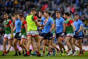14 August 2021; Philip McMahon of Dublin and Aidan O'Shea of Mayo tussle during the GAA Football All-Ireland Senior Championship semi-final match between Dublin and Mayo at Croke Park in Dublin. Photo by Seb Daly/Sportsfile