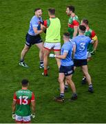 14 August 2021; Philip McMahon of Dublin and Aidan O'Shea of Mayo during the GAA Football All-Ireland Senior Championship semi-final match between Dublin and Mayo at Croke Park in Dublin. Photo by Stephen McCarthy/Sportsfile