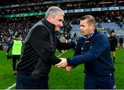 14 August 2021; Mayo manager James Horan, left, and Dublin manager Dessie Farrell shake hands after their GAA Football All-Ireland Senior Championship semi-final match at Croke Park in Dublin. Photo by Seb Daly/Sportsfile