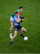 14 August 2021; Con O'Callaghan of Dublin in action against Patrick Durcan of Mayo during the GAA Football All-Ireland Senior Championship semi-final match between Dublin and Mayo at Croke Park in Dublin. Photo by Stephen McCarthy/Sportsfile