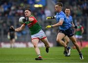 14 August 2021; James Carr of Mayo in action against Michael Fitzsimons of Dublin during the GAA Football All-Ireland Senior Championship semi-final match between Dublin and Mayo at Croke Park in Dublin. Photo by Seb Daly/Sportsfile