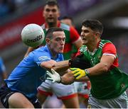 14 August 2021; Tommy Conroy of Mayo in action against Brian Fenton of Dublin during the GAA Football All-Ireland Senior Championship semi-final match between Dublin and Mayo at Croke Park in Dublin. Photo by Seb Daly/Sportsfile