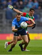 14 August 2021; Con O'Callaghan of Dublin in action against Tommy Conroy of Mayo during the GAA Football All-Ireland Senior Championship semi-final match between Dublin and Mayo at Croke Park in Dublin. Photo by Seb Daly/Sportsfile