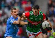 14 August 2021; Patrick Durcan of Mayo in action against Con O'Callaghan of Dublin during the GAA Football All-Ireland Senior Championship semi-final match between Dublin and Mayo at Croke Park in Dublin. Photo by Seb Daly/Sportsfile