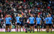 14 August 2021; Dublin players, from left, Cormac Costello, James McCarthy, Brian Fenton, Evan Comerford, Brian Howard, Jonny Cooper, Con O'Callaghan and Ciarán Kilkenny before the GAA Football All-Ireland Senior Championship semi-final match between Dublin and Mayo at Croke Park in Dublin. Photo by Ramsey Cardy/Sportsfile