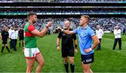 14 August 2021; Referee Conor Lane with the two captains Aidan O'Shea of Mayo and Jonny Cooper of Dublin the GAA Football All-Ireland Senior Championship semi-final match between Dublin and Mayo at Croke Park in Dublin. Photo by Ray McManus/Sportsfile