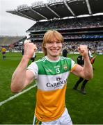 15 August 2021; Cormac Egan of Offaly celebrates following the 2021 Eirgrid GAA Football All-Ireland U20 Championship Final match between Roscommon and Offaly at Croke Park in Dublin. Photo by Stephen McCarthy/Sportsfile