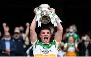 15 August 2021; Offaly team captain Kieran Dolan lifts the cup after the 2021 Eirgrid GAA Football All-Ireland U20 Championship Final match between Roscommon and Offaly at Croke Park in Dublin. Photo by Stephen McCarthy/Sportsfile