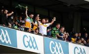 15 August 2021; Golfer and Offaly supporter Shane Lowry celebrates during the 2021 Eirgrid GAA Football All-Ireland U20 Championship Final match between Roscommon and Offaly at Croke Park in Dublin. Photo by Stephen McCarthy/Sportsfile