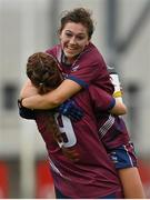 15 August 2021; Lucy Power, right, and Tracey Dillon of Westmeath celebrate at the final whistle of the TG4 All-Ireland Senior Ladies Football Championship Semi-Final match between Kildare and Westmeath at Parnell Park in Dublin. Photo by Brendan Moran/Sportsfile