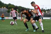 15 August 2021; Michael Duffy of Dundalk in action against Ciarán Coll of Derry City during the SSE Airtricity League Premier Division match between Derry City and Dundalk at Ryan McBride Brandywell Stadium in Derry. Photo by Ben McShane/Sportsfile