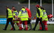 15 August 2021; David McMillan of Dundalk is stretchered off after picking up a serious injury during the SSE Airtricity League Premier Division match between Derry City and Dundalk at Ryan McBride Brandywell Stadium in Derry. Photo by Ben McShane/Sportsfile