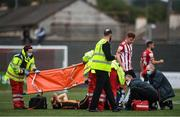 15 August 2021; David McMillan of Dundalk is prepared to be stretchered off after picking up a serious injury during the SSE Airtricity League Premier Division match between Derry City and Dundalk at Ryan McBride Brandywell Stadium in Derry. Photo by Ben McShane/Sportsfile