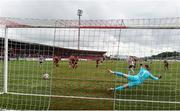 15 August 2021; Jamie McGonigle of Derry City shoots to score his side's first goal from a penalty past Dundalk goalkeeper Alessio Abibi during the SSE Airtricity League Premier Division match between Derry City and Dundalk at Ryan McBride Brandywell Stadium in Derry. Photo by Ben McShane/Sportsfile