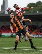 15 August 2021; Daniel Lafferty of Derry City in action against Raivis Jurkovskis of Dundalk during the SSE Airtricity League Premier Division match between Derry City and Dundalk at Ryan McBride Brandywell Stadium in Derry. Photo by Ben McShane/Sportsfile