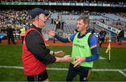 15 August 2021; Offaly manager Declan Kelly, left, and Roscommon manager Liam Tully following the 2021 Eirgrid GAA Football All-Ireland U20 Championship Final match between Roscommon and Offaly at Croke Park in Dublin. Photo by Stephen McCarthy/Sportsfile