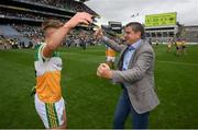 15 August 2021; Chairman of the Offaly County Board Michael Duignan celebrates with Jack Bryant following the 2021 Eirgrid GAA Football All-Ireland U20 Championship Final match between Roscommon and Offaly at Croke Park in Dublin. Photo by Stephen McCarthy/Sportsfile