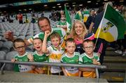15 August 2021; Offaly supporters celebrate following the 2021 Eirgrid GAA Football All-Ireland U20 Championship Final match between Roscommon and Offaly at Croke Park in Dublin. Photo by Stephen McCarthy/Sportsfile