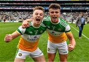 15 August 2021; Aaron Brazil, left, and Fionn Dempsey of Offaly celebrate after the 2021 Eirgrid GAA Football All-Ireland U20 Championship Final match between Roscommon and Offaly at Croke Park in Dublin. Photo by Ray McManus/Sportsfile