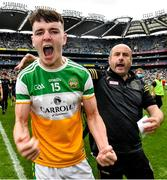 15 August 2021; Aaron Kellaghan of Offaly and Ciarán 'Sod' Daly celebrate after the 2021 Eirgrid GAA Football All-Ireland U20 Championship Final match between Roscommon and Offaly at Croke Park in Dublin. Photo by Ray McManus/Sportsfile