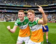 15 August 2021; Darragh Flynn of Offaly, left, and Lee Pearson of Offaly celebrate after the 2021 Eirgrid GAA Football All-Ireland U20 Championship Final match between Roscommon and Offaly at Croke Park in Dublin. Photo by Ray McManus/Sportsfile