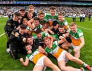 15 August 2021; Offaly players celebrate after the 2021 Eirgrid GAA Football All-Ireland U20 Championship Final match between Roscommon and Offaly at Croke Park in Dublin. Photo by Ray McManus/Sportsfile