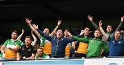 15 August 2021; Offaly supporters, in the Hogan Stand, including Open winner Shane Lowry watch the closing stages of the 2021 Eirgrid GAA Football All-Ireland U20 Championship Final match between Roscommon and Offaly at Croke Park in Dublin. Photo by Ray McManus/Sportsfile