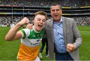 15 August 2021; Chairman of the Offaly County Board Michael Duignan celebrates with Aaron Brazil after the 2021 Eirgrid GAA Football All-Ireland U20 Championship Final match between Roscommon and Offaly at Croke Park in Dublin. Photo by Ray McManus/Sportsfile