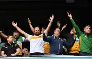 15 August 2021; Offaly supporters, in the Hogan Stand, including Open winner Shane Lowry celebrate after the 2021 Eirgrid GAA Football All-Ireland U20 Championship Final match between Roscommon and Offaly at Croke Park in Dublin. Photo by Ray McManus/Sportsfile