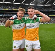 15 August 2021; Ed Cullen, left, and Kieran Dolan of Offaly celebrate after the 2021 Eirgrid GAA Football All-Ireland U20 Championship Final match between Roscommon and Offaly at Croke Park in Dublin. Photo by Ray McManus/Sportsfile